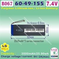 [B067] 7.4V,3500mAH,[6049154] PLIB (polymer lithium ion battery / LG cell ) Li-ion battery for tablet pc,GPS,e-book,speaker