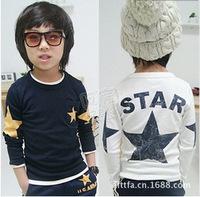 Pls order any 2pcs in shop  Size100~140 boys tops tees child  long sleeve t shirts kids clothing Children T-shirt  star fashion