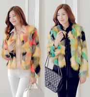 2014 Autumn and winter fashion luxury leopard print color faux fox fur overcoat short winter coat design fur coat free shipping