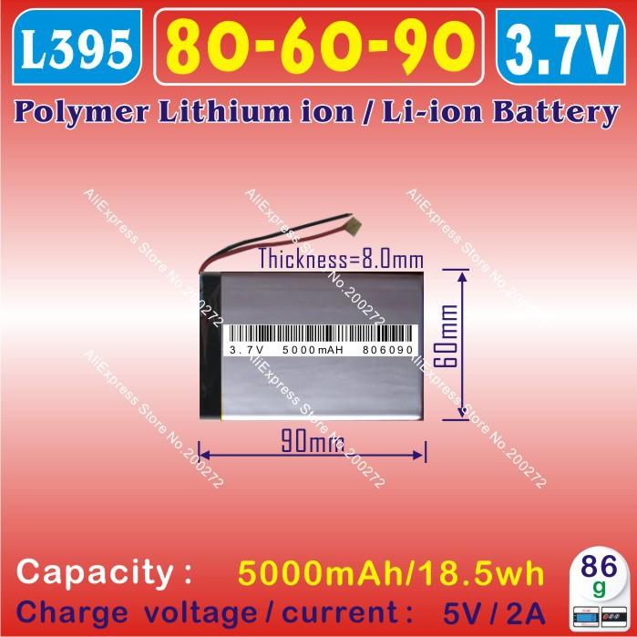 [L395] 3.7V,5000mAH,[806090] PLIB; polymer lithium ion / Li-ion battery for tablet pc,power bank,model aircraft,gps,dvd,CAR DVR(China (Mainland))