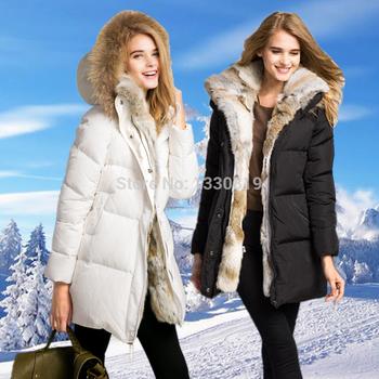 2014 новинка женщин 100% натуральный мех вниз пальто куртки с мехом кролика верхняя одежда пальто для женщин черный белый прямая поставка