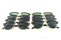 51mm lens 1pcs Mens Womens Designer 3016 Clubmaster Sunglasses Black Frame Green Glass Lens RB Glasses High Quality