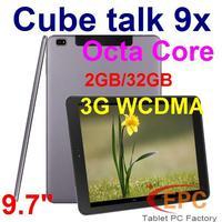 "Original 9.7"" Cube TALK 9X U65GT 3G WCDMA Phone Call 2GB 32GB IPS Retina 2048*1536 MT8392 Octa Core Android 4.4 Dual Camera BT"