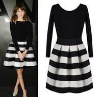 New Fashion Casaul Dress Women 2014 Winter Spring Girls Wearing Cute Black White Striped Stitching Dress Length Sleeve Vestidos