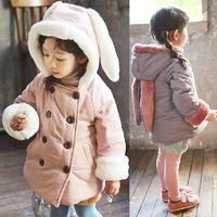 2014 Winter Children Warm Coats Girls Rabbit Design Hooded Thick Jacket Coats Kids Coats Free Shipping 5 PCS