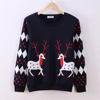 FS-2643 New Arrival 2014 Winter Women's Fleece Sweatshirt Elk Printing Female Sweatshirts