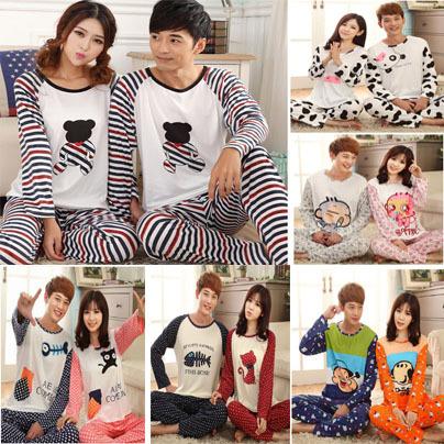 Полный рукав мужчины и женщины пижамы комплект пары пижамы для дома одежда для влюблённые пижама
