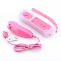 Pink 2 in 1 Built in Motion Plus 5 colors video Games Nunchuck controller for Nintendo Wii controller free shipping