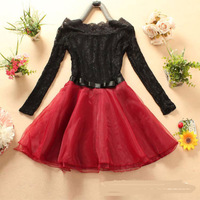 Sexy Slash Neck Lace Patchwork Women Dress + free shipping