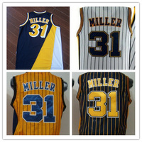 31# Reggie Miller Jersey New Material Rev 30 Embroidery Indiana Basketball jerseys size S-XXL Retail/Wholesale Free Shipping