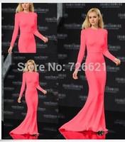New Fashion European Autumn Winter Long Sleeve O-neck Floor-Length Trumpet/Mermaid Dress Good Quality Pink Maxi Dress Wholesale