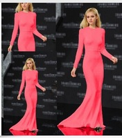New Fashion European Autumn Winter Long Sleeve O-neck Floor-Length Trumpet/Mermaid Dress Good Quality Pink Maxi Dress Wholesale