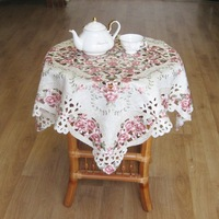New Hot 85*85cm Elegant Jaquard Floral Embroidery Table Topper Polyester Pink Rose Embroidered Table Cloth Linen Cover Overlay