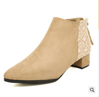 2014 Brand Women Boots Designer Black European Style Women Ankle Boot Medium Heels Spring Autumn Ladies Shoes Female Footwear