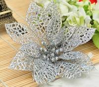 Free Shipping 2014 Christmas Tree Ornament silver / Gold13cm adhesive powder hollow high-grade Christmas flowers