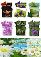 4pcs queen/full comforter/duvet covers white chrysanthemum strawberry orange Purple Flower 3D bed linen Wholesale bedding sets