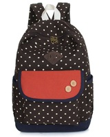 Christmas Fashion canvas dot backpack boy girl college schoolbag cute lady leisure rucksack