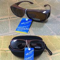 Hot Polarized Wraparound Sunglasses  Clip wear Fit Over on eyeglass -Clip Over Glasses Sunglasses-Cafe Frame
