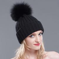 100% Real Fur Wool Beanies Winter Raccoon And Fox Hairball Hats Knitting Skullies White Black Women Fur Caps Warm Casual Hat
