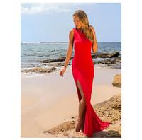 2014 New Halter Straps Handmade Flower Chiffon Beach White red Wedding Dresses Free Shipping