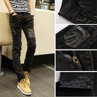 2014 Autumn Winter Leather Pathchwork Slim Fit Fashion Black denim Jeans ,Skinny Black Jeans for men Chains Decoration Hole