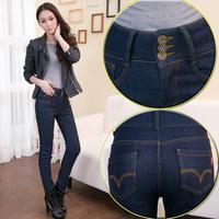 2014 Women Winter Warm  Plus Thick Velvet High Waist Female Fleece Jeans Pencil Pants Hot!!!