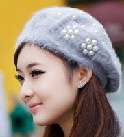 2014 Fashion Women's Winter Rabbit Fur Genuine Pearl Flower Beret Ski Hats ( 10 Colors)