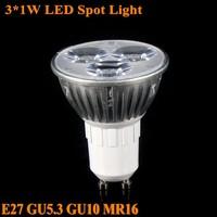 10X 3x1W Spotlight LED Bulb lamp AC85-265V Brightness GU5.3 GU10 E27 Cold/Warm white Led spot bulb downlights Free shipping