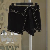 Free shipping 2015 new autumn punk style woolen rivet women's irregular skirt