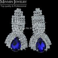 Hot Selling European Blue Teardrop Crystal Imitation Gemstone Long Earrings for Women Gold Earrings Christmas Gift