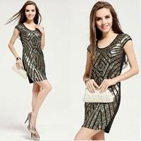 Vestido Femme Robe Crochet Dress Silver Sequins Mesh Sleeveless Shirt Round Collar Dress suit
