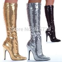 "New Listing women's tin black sequin 5"" stiletto heels knee high bordello disco club wear burlesque showgirl boots,SZ10 Hot!"