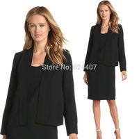 Womens Office Dress Blazer Suit Female Business Formal Black Work Wear Ladies Career Jacket And Dress Sets conjunto saia e blusa
