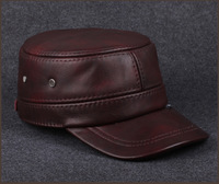 Leather Hat autumn winter fashion flat cap Leather Men's outdoor winter hat helmet