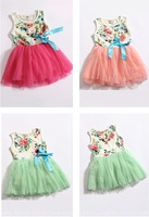 Newborn Baby Girls Dress Kids Children Clothing Flower Princess Vestidos Infantil Clothes Set Bowk Floral Party 1-5 Year