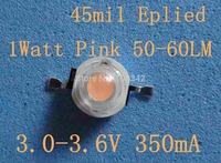 45mil Chip Pink  Power LED 1watt 50-60lm 50pcs/lot