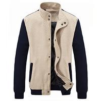 2014 Man Fashion Jackets Khaki Outerwear Plus Size M-3XL Spring & Autumn Patchwork Polka Dot Pattern Men Slim Casual Coats