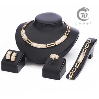 Женщины африканские бусины ювелирные комплект Cz кристалл кольцо серьги ожерелья браслет ювелирные изделия комплект 18 К позолоченные заявление аксессуары
