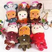 2014 New 6Colors Thicken Autumn Winter Warmer Cartoon Rabbit Plush Gloves for girls ,woman Warm gloves Christmas gift