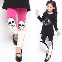 Kids Leggings Skinny Leggings Real Freeshipping Mid Pants Agent 2014 Korean Version of The New Children's Child Skull Girls 1051