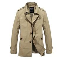 2014 Classic Man Warm Fashion Jackets Plus Size M-3XL Autumn & Winter Turn Down Collar Men Casual Outerwear Khaki Long Coats