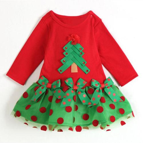 Christmas Dress Baby Girl CHILD Polka Dot One-piece Shirt Clothes 6-7Year(China (Mainland))