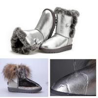 Waterproof Snow Boots Winter Women Genuine Real Leather Boots Australia Fur Shoes Women's Bottes Femmes 2014 New botas