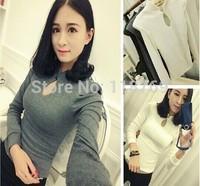 2014 New Arrival Winter Women T shirt Female Slim Tops Thin Openwork Knit Shrug Stand Collar t-shirt  Lady Blouse T Shirt Women