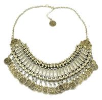 Gypsy Bohemian Beachy Chic Statement Necklace Boho Festival Silver Golden Fringe Bib Coin Ethnic Turkish India Tribal
