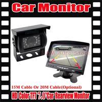 "Hot Selling  NEW 7"" LCD Monitor+18 IR Reverse Camera Car Rear View Kit car camera Truck BUS parking sensor"
