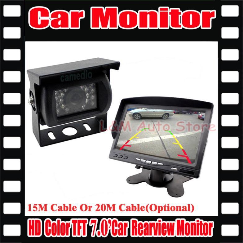 "Hot Selling NEW 7"" LCD Monitor+18 IR Reverse Camera Car Rear View Kit car camera Truck BUS parking sensor(China (Mainland))"
