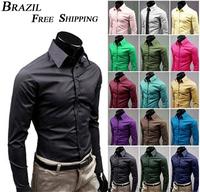 2014 BRAZIL FREE SHIPPING Hot sale Mens long sleeve shirts Slim fit casual dress Shirt Unique Neckline men's Shirt