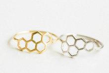 Honey Bee Honeycomb Hexagon Geometric Gold Ring nature