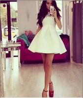 014 new European and American winter stereo White Sleeveless Dress LH0025 mini bodycon dress frozen dress elsa dress